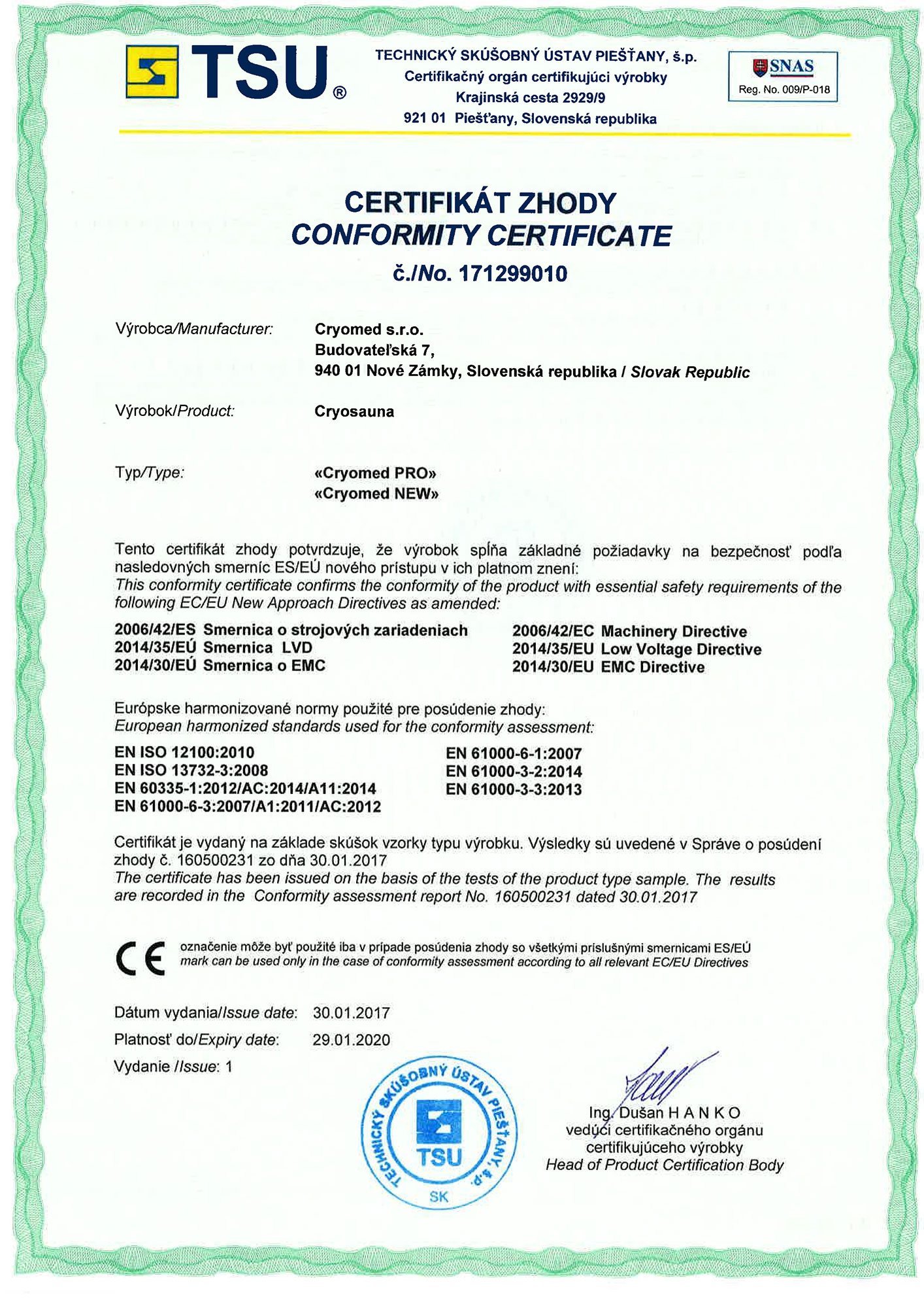 Cryosauna cryomed pro quality certificates the certificate of conformity yelopaper Image collections