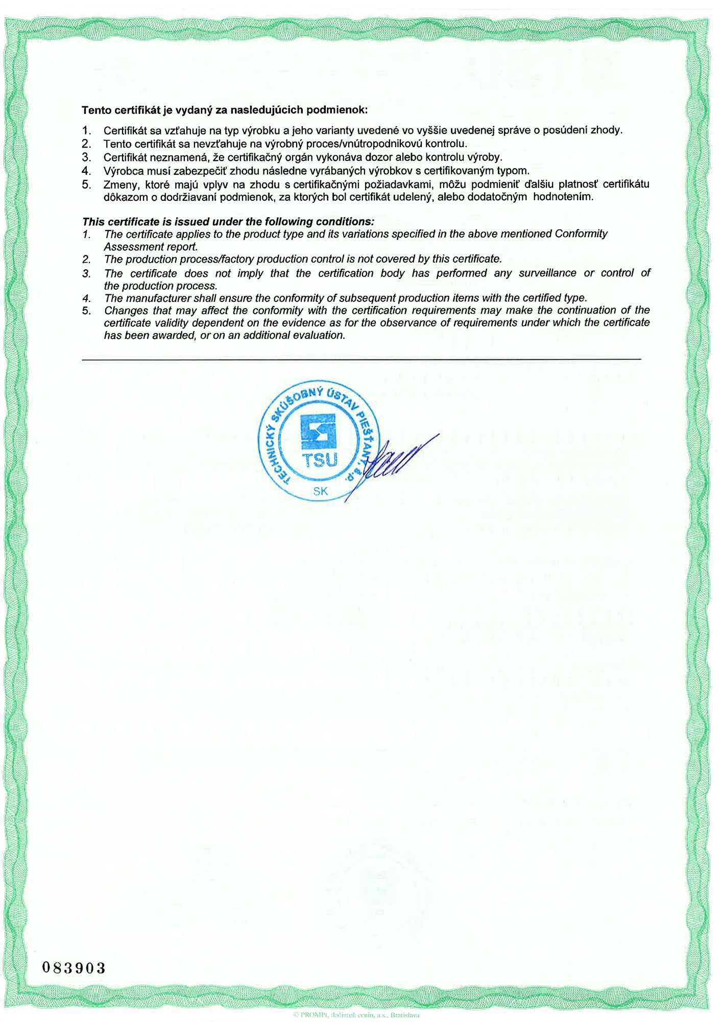 The Certificate of Conformity