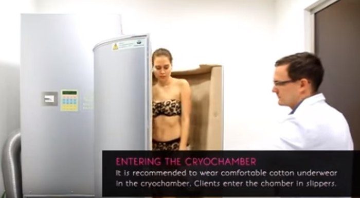 """Entering the cryochamber"". Cryosauna as a cosmetic procedure (video)"