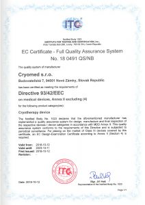 EC Certificate - Full Quality Assurance System No. 18 0491 QS/NB