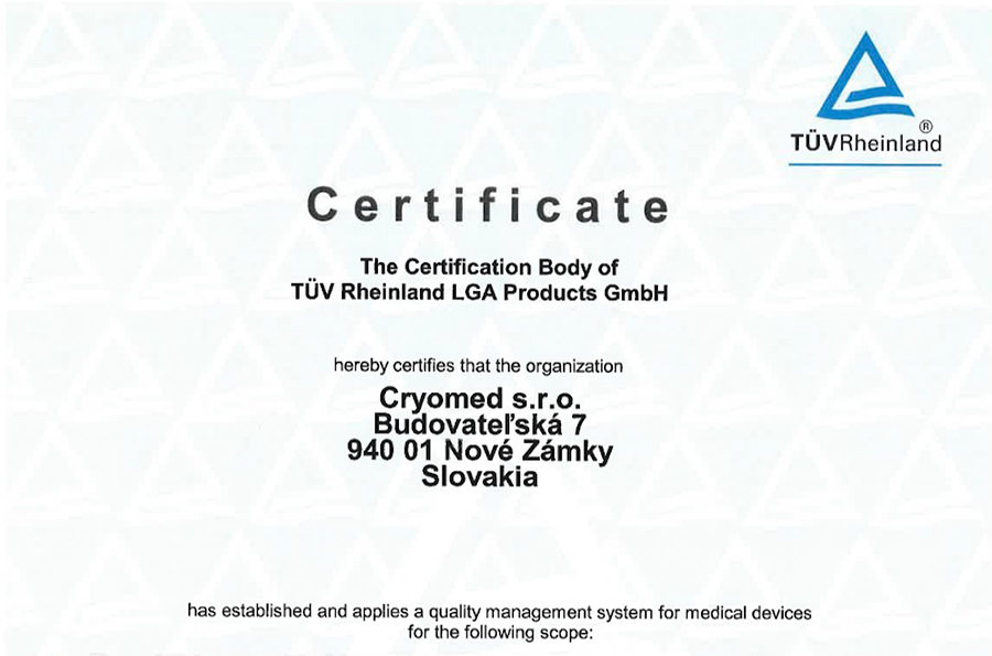 Cryomed Has Successfully Achieved Medical Certification