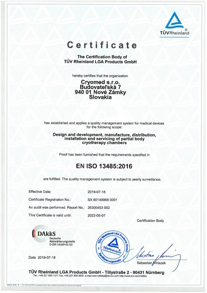 Certificado Cryomed de conformidade com os requisitos da EN ISO 13485:2016