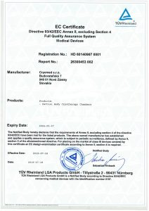 Certificato Cryomed di conformità ai requisiti EN ISO 13485:2016