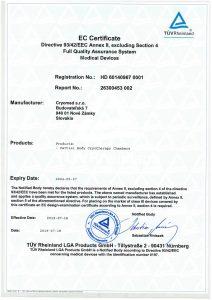 Certifikát zhody Cryomed s ustanoveniami smernice ES o certifikátoch 93/42/EHS, príloha II