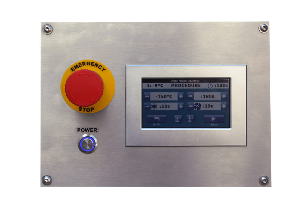 Emergency stop button to stop the cryo session at any time