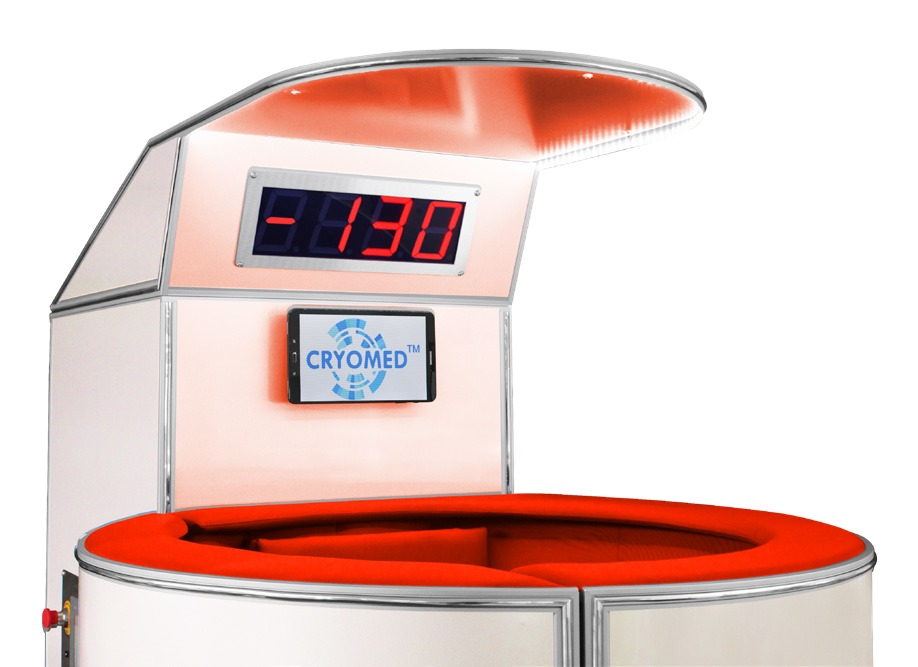 The temperature display of cryosauna can have red/green/blue/yellow digits